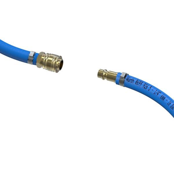 Sicherheits Druckluftschlauch Set 6mm - 13mm Würth PVC Schlauch Einhand Schnellkupplung + Anschluss