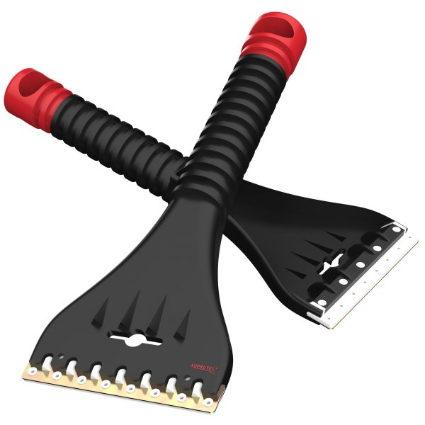 Eiskratzer mit Doppel Klinge Messing Polycarbonat AE 1 schwarz rot