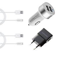 USB Adapter 3.1A Dual Auto Ladegerät, Netzteil + 2 Kabel 4in1 Set weiß