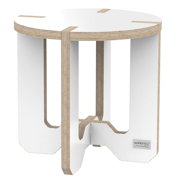 Tabouret 30cm Rond Chaise Floral Table DAppoint Bouleau Blanc