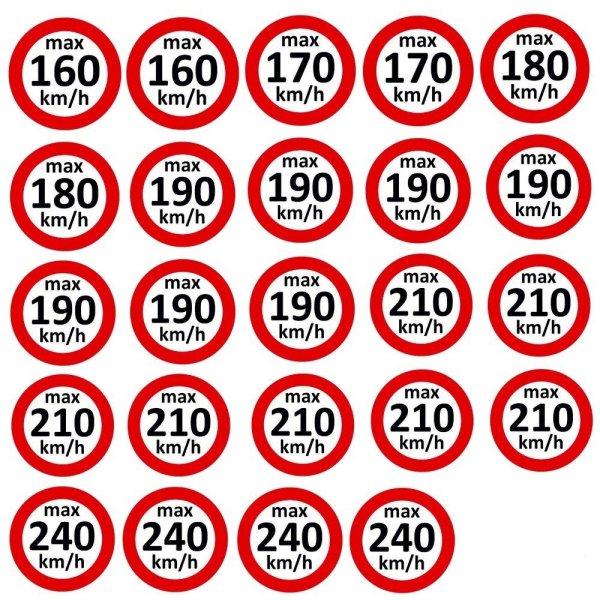 Set Geschwindigkeitsaufkleber 160 - 240 km/h nach § 36 StVZO