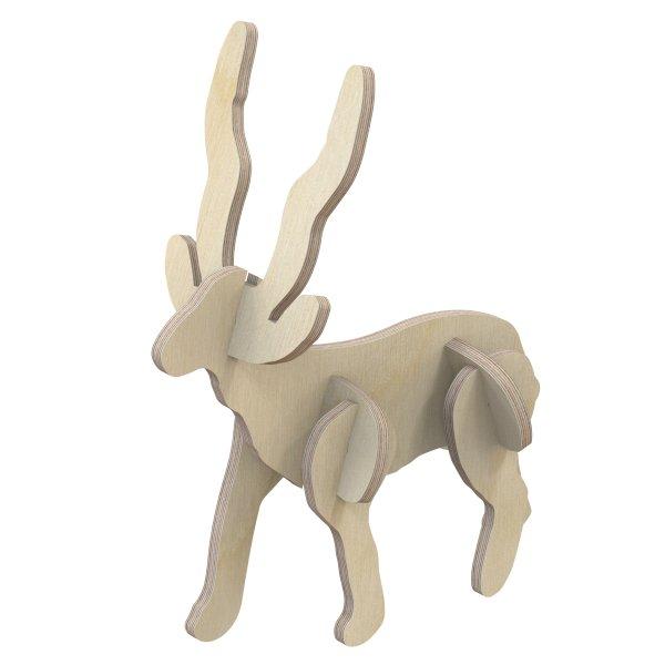 3D Holzbausatz Multiplex Birkenholz Modell Hirsch