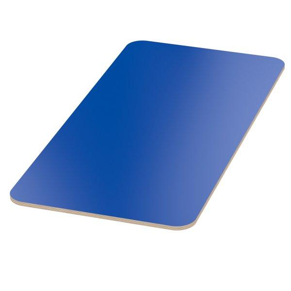 Multiplexplatte Holzplatte Tischplatte Birke melaminbeschichtet blau Eckenradius 100mm