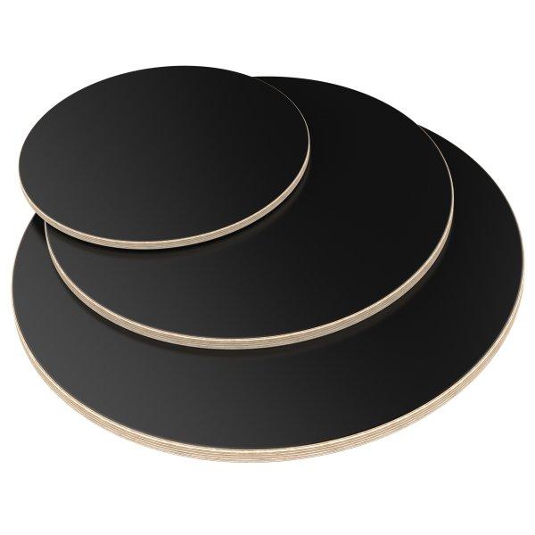 Multiplexplatte Holzplatte Tischplatte Rund melaminbeschichtet schwarz