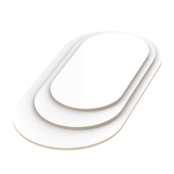 Multiplexplatte Holzplatte Tischplatte Oval melaminbeschichtet weiß