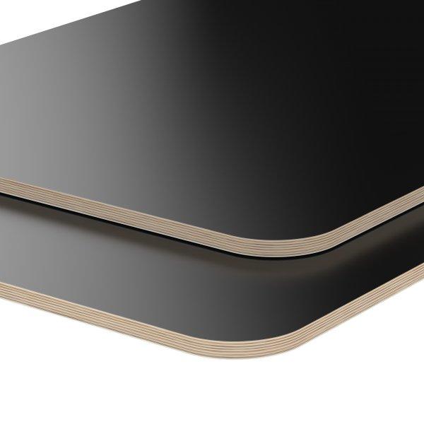 Multiplexplatte Holzplatte Tischplatte Birke melaminbeschichtet schwarz Eckenradius 100mm