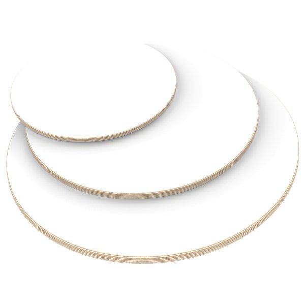 Multiplexplatte Holzplatte Tischplatte Rund melaminbeschichtet weiß