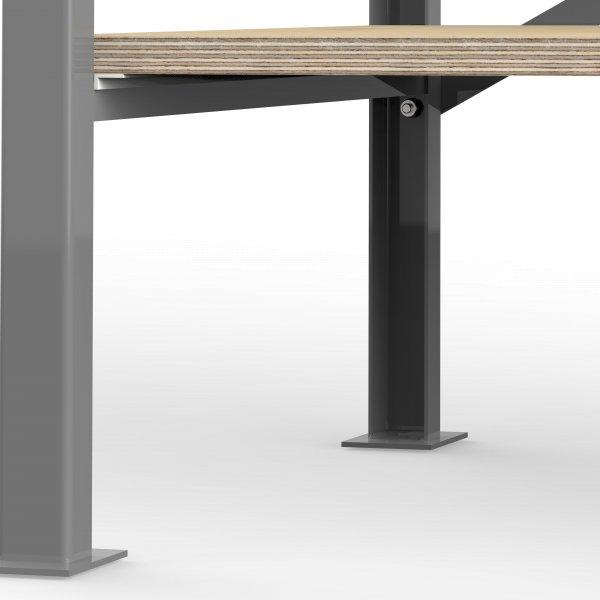 Profi Werkbank 125 cm - 160 cm mit Multiplex Platte Arbeitsplatte 40mm Massiv