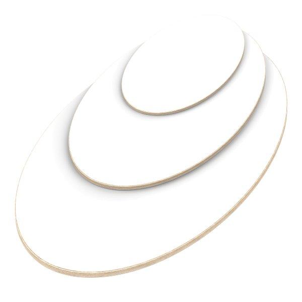 Multiplexplatte Holzplatte Tischplatte Ellipse melaminbeschichtet weiß