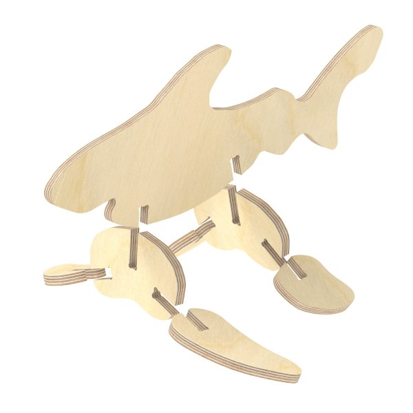 3D Holzbausatz Multiplex Birkenholz Modell Hai