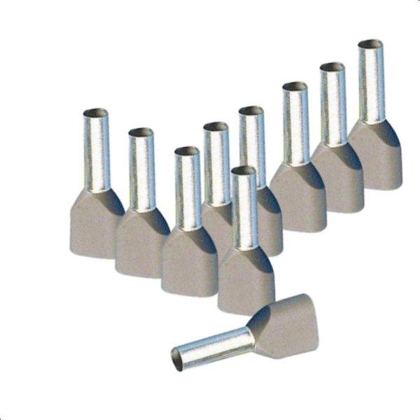 Twin Aderendhülsen 0,75 mm² isoliert grau Kabelendhülsen