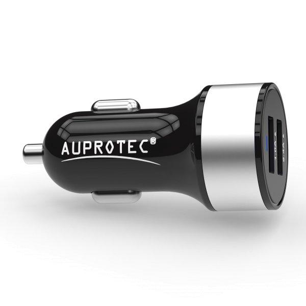 USB Adapter iX-2C-SW Dual Auto Ladegerät 3.4A schwarz-silber