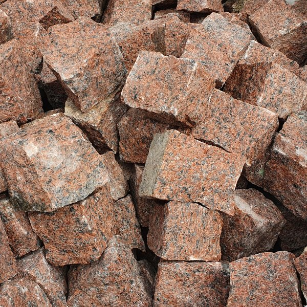 Granit Pflastersteine Naturstein 9/11 rot als Kleinmenge