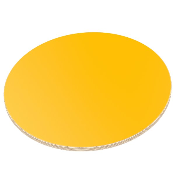 Multiplexplatte Holzplatte Tischplatte Rund melaminbeschichtet gelb