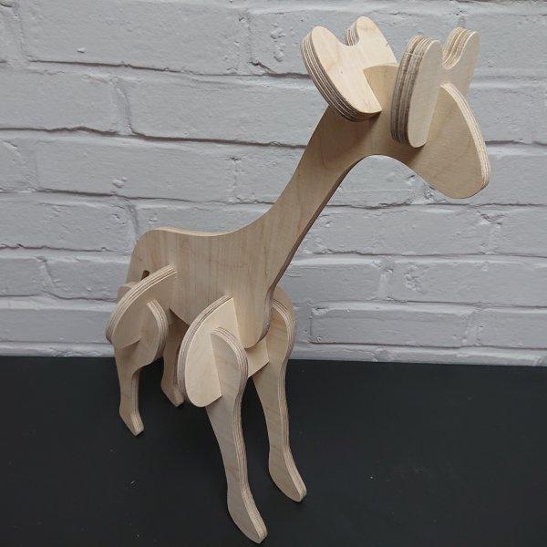 3D Holzbausatz Multiplex Birkenholz Modell Giraffe