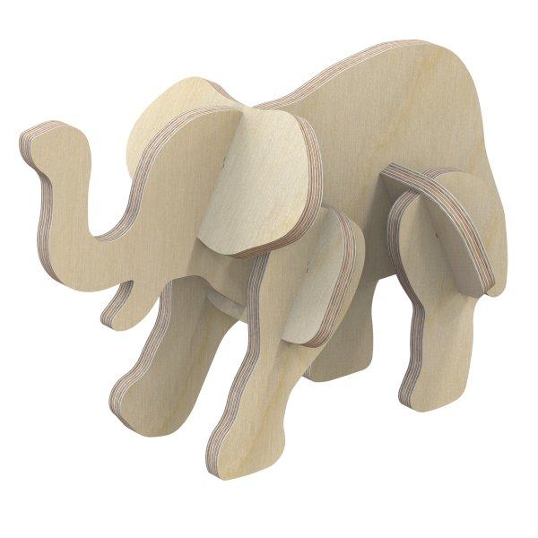 3D Holzbausatz Multiplex Birkenholz Modell Elefant