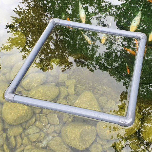 Futterring eckig Teich Gartenteich Futterring für Teichfische schwimmend Ø 30cm - 70cm + Halteseil