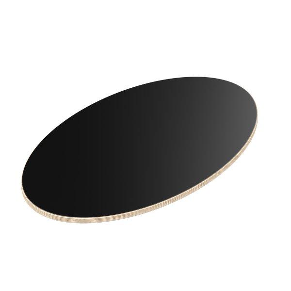 Multiplexplatte Holzplatte Tischplatte Ellipse melaminbeschichtet schwarz