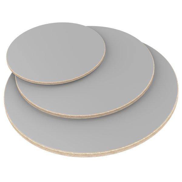 Multiplexplatte Holzplatte Tischplatte Rund melaminbeschichtet grau