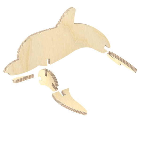 3D Holzbausatz Multiplex Birkenholz Modell Delfin