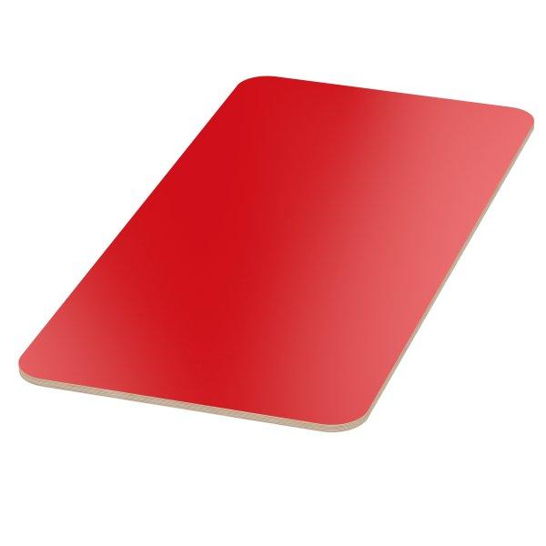 Multiplexplatte Holzplatte Tischplatte Birke melaminbeschichtet rot Eckenradius 100mm