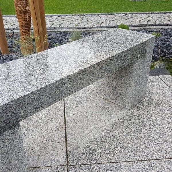 Gartenbank Steinbank Naturstein Granit grau 3 Teilige Sitzbank