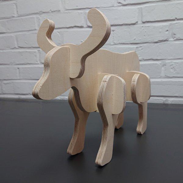 3D Holzbausatz Multiplex Birkenholz Modell Stier