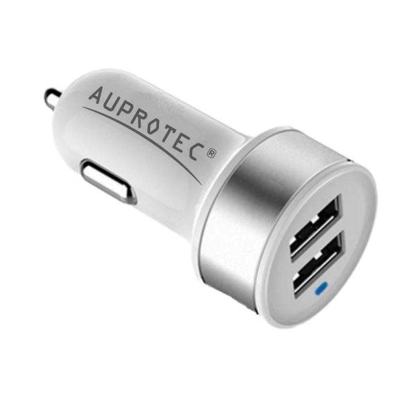 USB Adapter 3.1A Auto Ladegerät + iPhone Kabel 2in1 Set weiß
