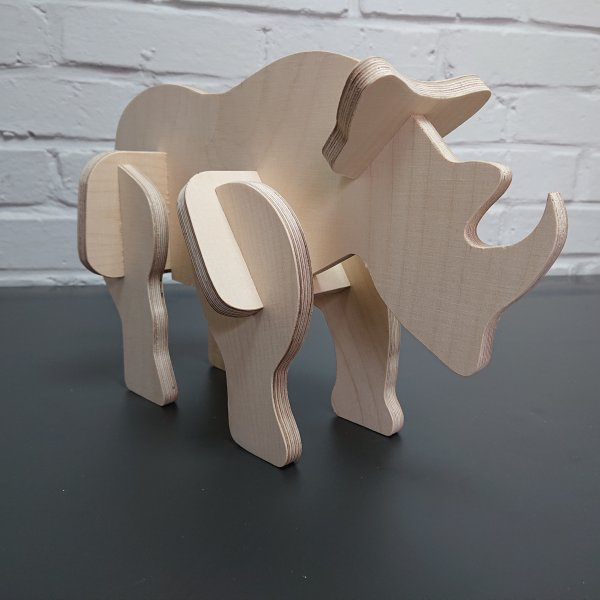 3D Holzbausatz Multiplex Birkenholz Modell Nashorn