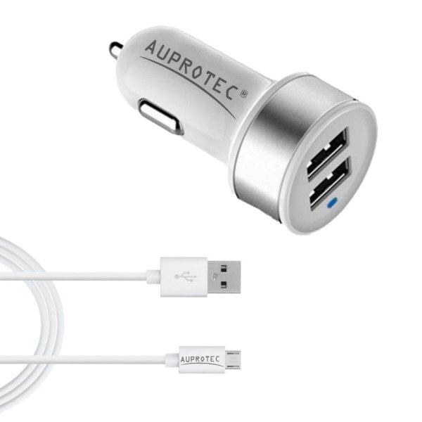 USB Adapter 3.1A Dual Auto Ladegerät + Kabel 2in1 Set weiß