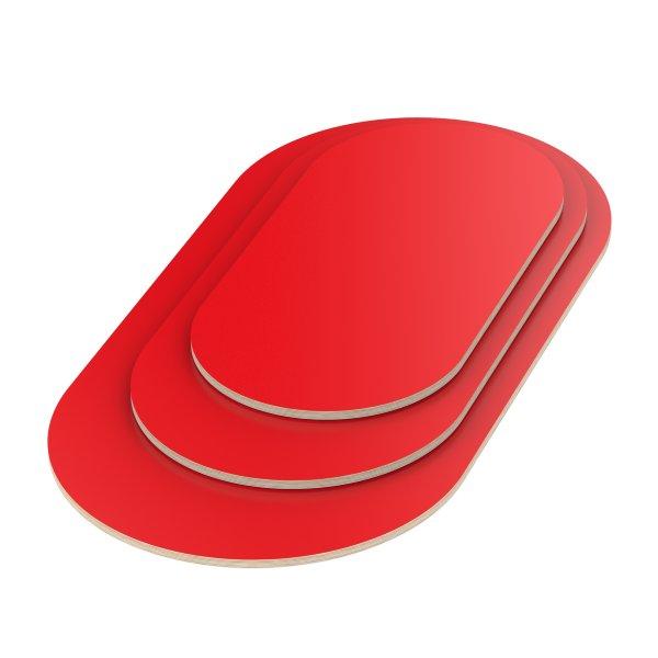 Multiplexplatte Holzplatte Tischplatte Oval melaminbeschichtet rot