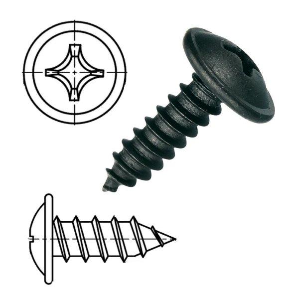 Blechschrauben Kreuzschlitz Flachkopf mit Scheibe schwarz verzinkt