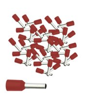 Aderendhülsen 1,50 mm² isoliert rot Kabelendhülsen