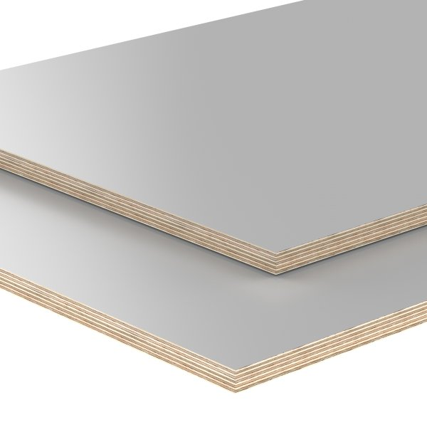 Multiplexplatte Holzplatte Tischplatte Birke melaminbeschichtet grau